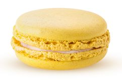 Sweet lemon macarons. Isolated on white background. Clipping Path. Full depth of field royalty free stock images