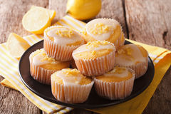 Sweet lemon muffins with zest and icing sugar close-up on a plat Stock Photo