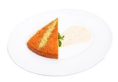 Sweet lemon pie with pistachio mousse. Stock Photo