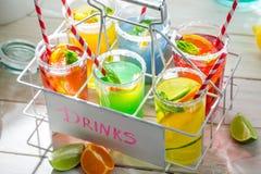 Sweet lemonade with orange and lemon Royalty Free Stock Photos
