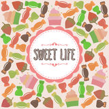 Sweet life card. Cute background with candies Stock Photo
