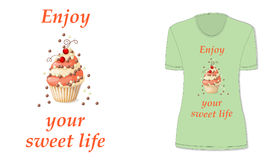Sweet life with cupcake and red currant, mockup Stock Images