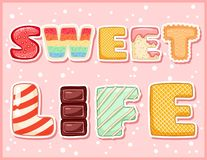 Sweet life cute funny postcard. Pink glazed tempting inscription flyer. Vector illustration is suitable for greeting cards, royalty free illustration