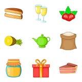 Sweet life icons set, cartoon style Royalty Free Stock Photo