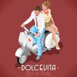 The Sweet Life of Marcello and Audrey. Dolce Vita Flat 3d Isometric Couple Marcello and Audrey on their Vintage Scooter Sweet Roman Holiday in Italy Royalty Free Stock Photo