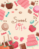 Sweet Life Text Surrounded by Sweets Graphics Royalty Free Stock Images