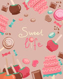 Sweet Life Text Surrounded by Sweets Graphics Stock Images