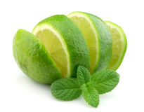 Sweet lime with mint. On white Royalty Free Stock Images