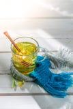 Sweet linden tea for cold evenings Stock Photos