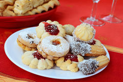 Sweet linzer cookies jam filled sprinkled with powdered sugar Royalty Free Stock Image