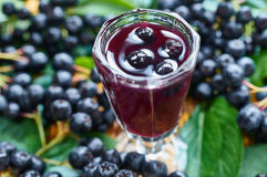 Sweet liqueur made from chokeberry Stock Photos
