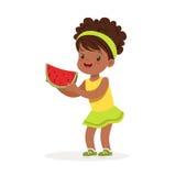 Sweet little african girl enjoying eating watermelon cartoon vector Illustration Royalty Free Stock Photography