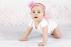 Sweet little baby with butterfly wings Stock Image