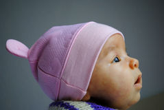 Sweet little baby girl with hat Stock Image