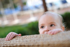 Sweet little baby girl peeping out Stock Photography