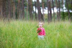 Sweet little baby girl walking in autumn park stock photo