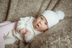 Sweet little baby in the hat Stock Photo