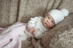 Sweet little baby in the hat Stock Image