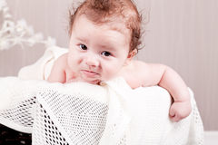 Sweet little baby infant toddler on blanket in basket Stock Photography
