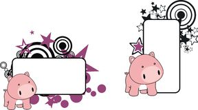 Sweet little baby pig cartoon copyspace Royalty Free Stock Images