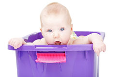 Sweet little baby in violet box Stock Photo