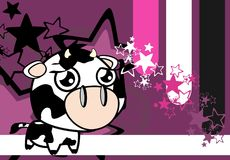 Sweet little big head cow expression background Royalty Free Stock Image