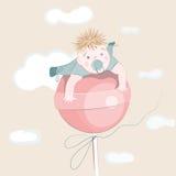 Sweet Little Boy on the Lollipop Royalty Free Stock Photo