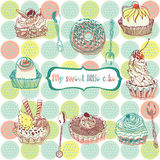Sweet little cakes background Stock Photos