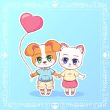 Sweet Little cute kawaii anime cartoon Puppy cat kitten dog boy and girl with pink balloon in the shape of a heart. Card for Valen Royalty Free Stock Images