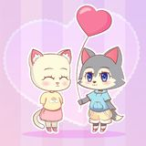 Sweet Little cute kawaii anime cartoon Puppy wolf dog puppy boy and cat, kitten girl with pink balloon in the shape of a heart. Ca Stock Photography