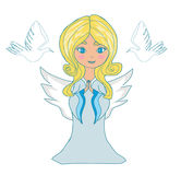 Sweet little girl angel and two doves Stock Photos