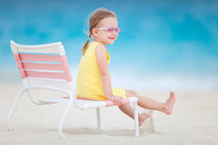 Sweet little girl at beach Royalty Free Stock Photos