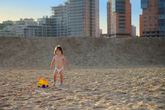 Sweet little girl at beach during summer vacation Stock Image