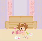 Sweet little girl drawing artwork with crayons Stock Images