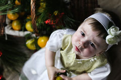 Sweet little girl in dress with christmas basket Royalty Free Stock Image