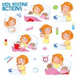 Sweet little girl with ginger hair and her daily routines. Good morning and good night - Daily routine actions of a lovely little girl with ginger hair - Set of Stock Photos