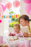 Sweet Little Girl on Her Birthday Party Royalty Free Stock Photo