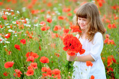 Sweet little girl pick a flowers in a wild meadow with poppies a. Nd daisies stock photography