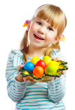 Sweet little girl with plate of Easter eggs. Portrait of smily young girl with Easter eggs Royalty Free Stock Images