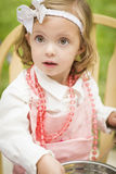 Sweet Little Girl Playing Chef Cooking Royalty Free Stock Images