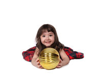 Sweet little girl playing with christmas bulb Stock Photos
