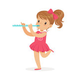 Sweet little girl playing flute, young musician with toy musical instrument, musical education for kids cartoon vector. Illustration on a white background Stock Image