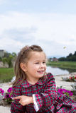 Sweet little girl pointing finger forward Royalty Free Stock Photos