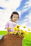Sweet little girl with sunflowers Royalty Free Stock Photos