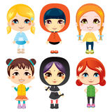 Sweet Little Girls. Six sweet little girls from diverse ethnic groups with different clothing styles Stock Image