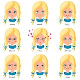 Sweet little girls-01. Sweet little girl. Different emotions. Neutral, happy, sad, angry, ashamed, offended annoyed in love Cartoon character Vector illustration Stock Photography