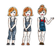 Sweet little girls standing wearing fashionable casual clothes. Stock Photo