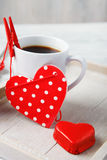 Sweet little heart and coffee cup. Made for Valentine breakfast Royalty Free Stock Image