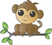 A sweet little monkey sitting on a branch stock illustration