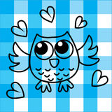Sweet little owl on checkered background Royalty Free Stock Photo